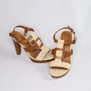 Franco Sarto Betsey Caramel Python Leath heels